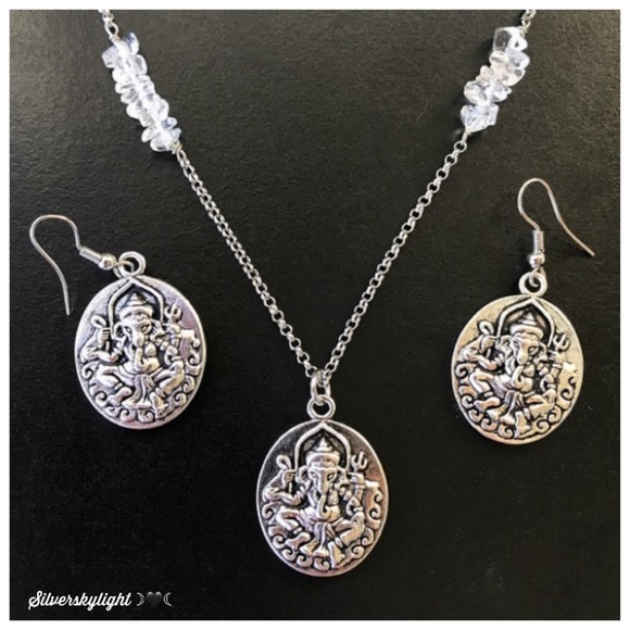 Silverskylight Jewelry - Genuine Crystal quartz Ganesh necklace & earrings